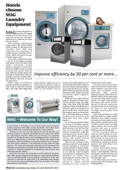 laundry equipment for hotels from MAG Laundry Equipment